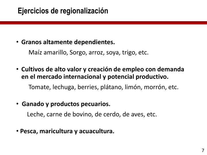 Ejercicios de regionalización