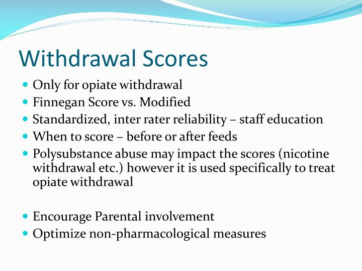 Withdrawal Scores