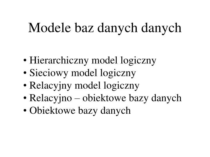 Modele baz danych danych