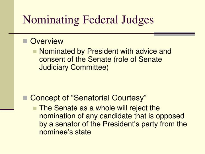 Nominating Federal Judges