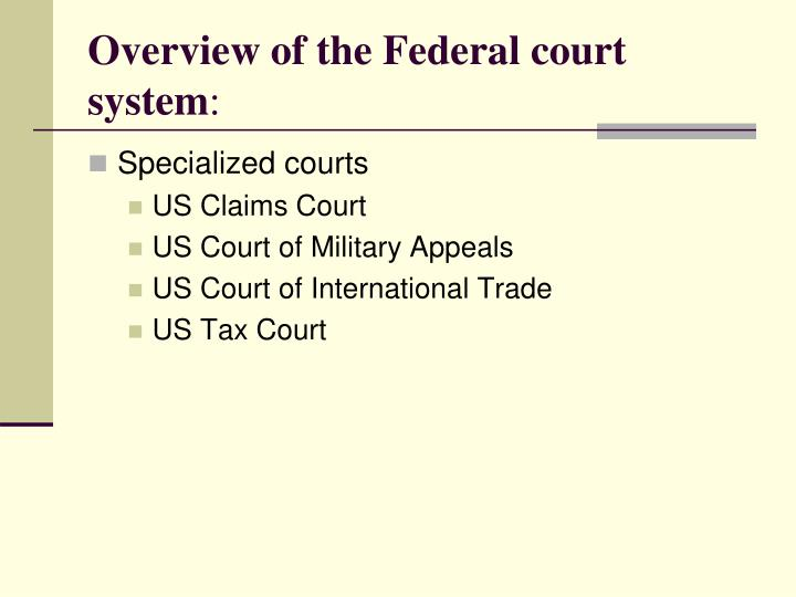 Overview of the federal court system