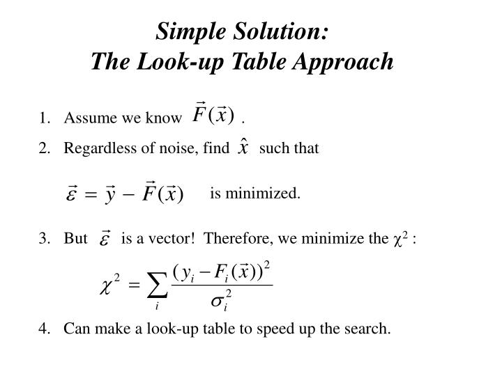 Simple Solution:                           The Look-up Table Approach