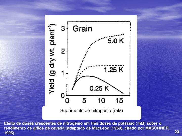 Efeito de doses crescentes de nitrognio em trs doses de potssio (mM) sobre o rendimento de gros de cevada (adaptado de MacLeod (1969), citado por MASCHNER, 1995).