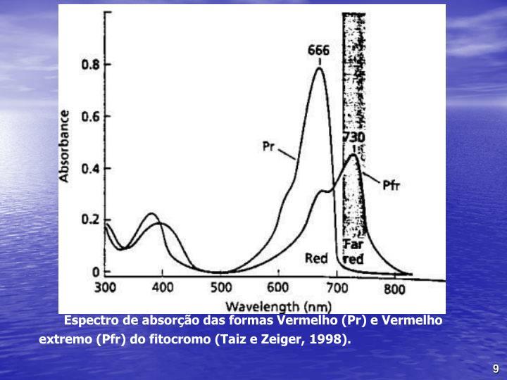 Espectro de absoro das formas Vermelho (Pr) e Vermelho extremo (Pfr) do fitocromo (Taiz e Zeiger, 1998).