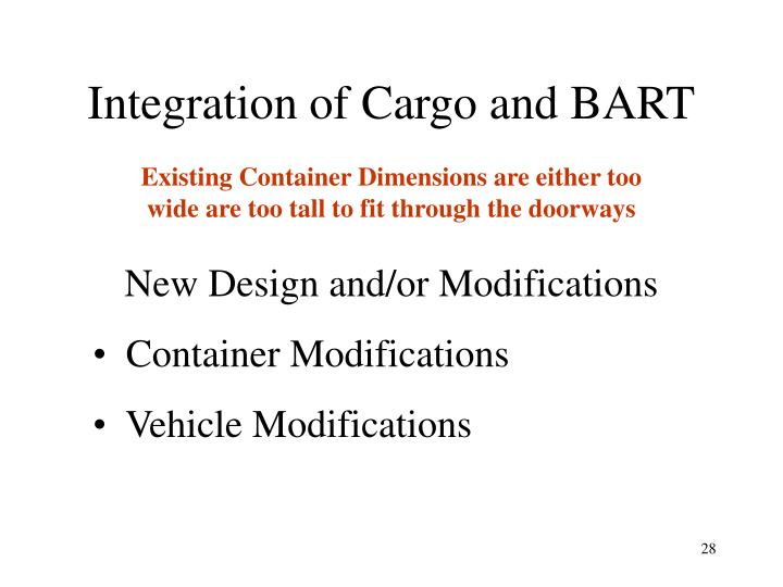 Integration of Cargo and BART