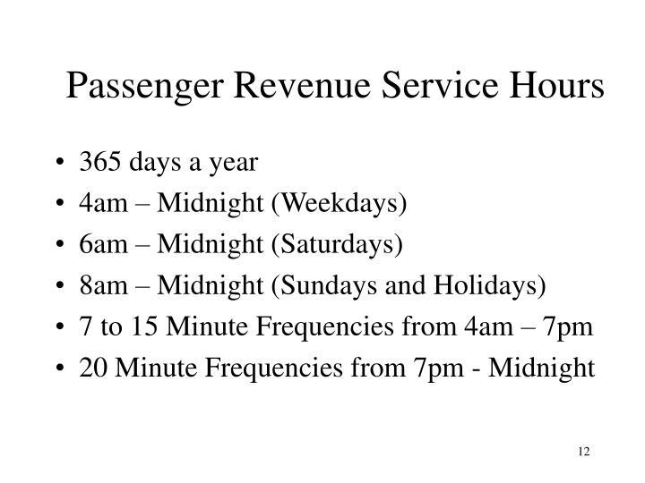 Passenger Revenue Service Hours