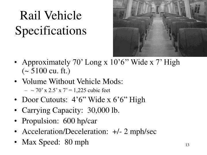 Rail Vehicle Specifications