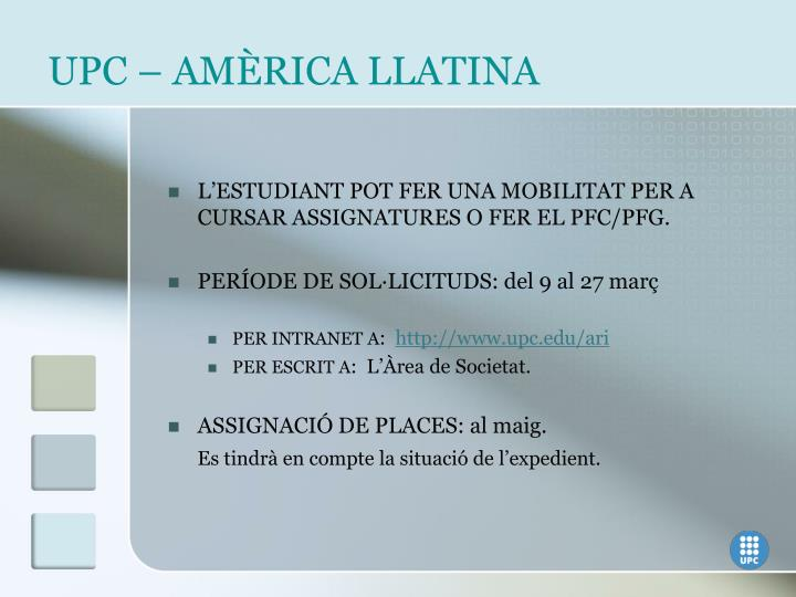 UPC – AMÈRICA LLATINA