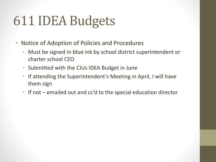 611 IDEA Budgets