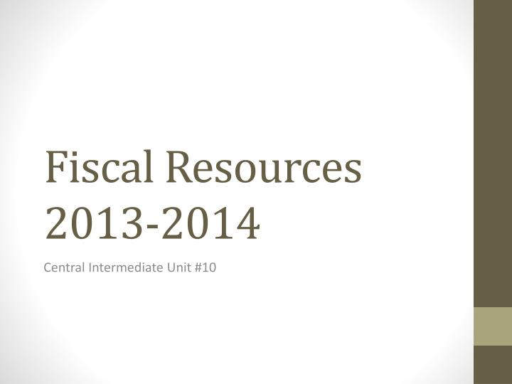 Fiscal resources 2013 2014