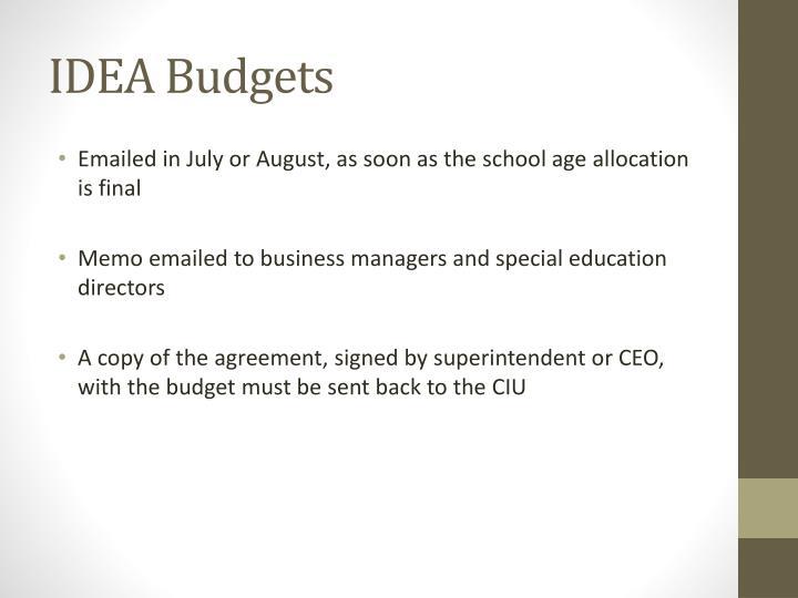 IDEA Budgets