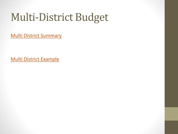 Multi-District Budget