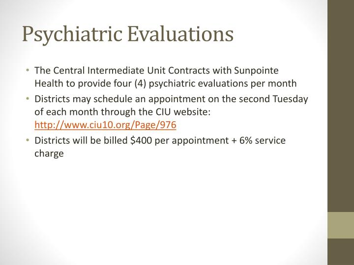 Psychiatric Evaluations