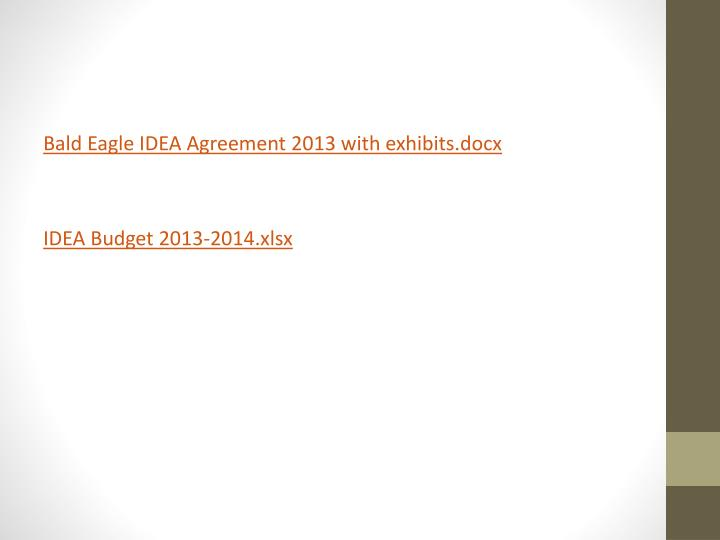 Bald Eagle IDEA Agreement 2013 with exhibits.docx