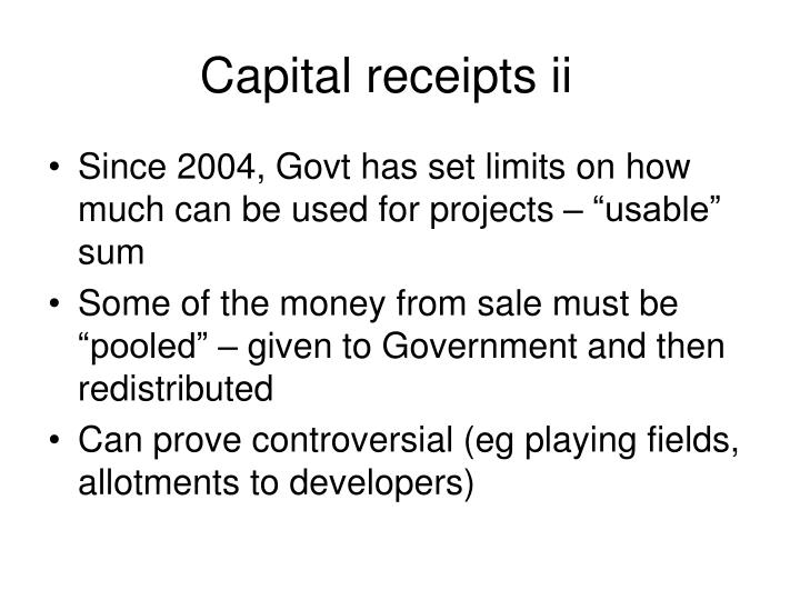Capital receipts ii