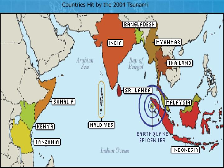 Countries Hit by the 2004 Tsunami