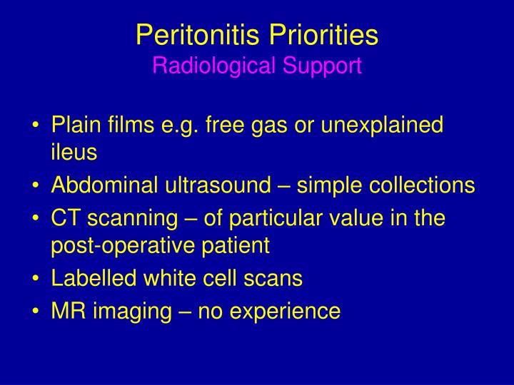 Peritonitis Priorities