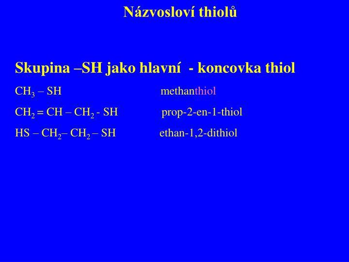 Názvosloví thiolů