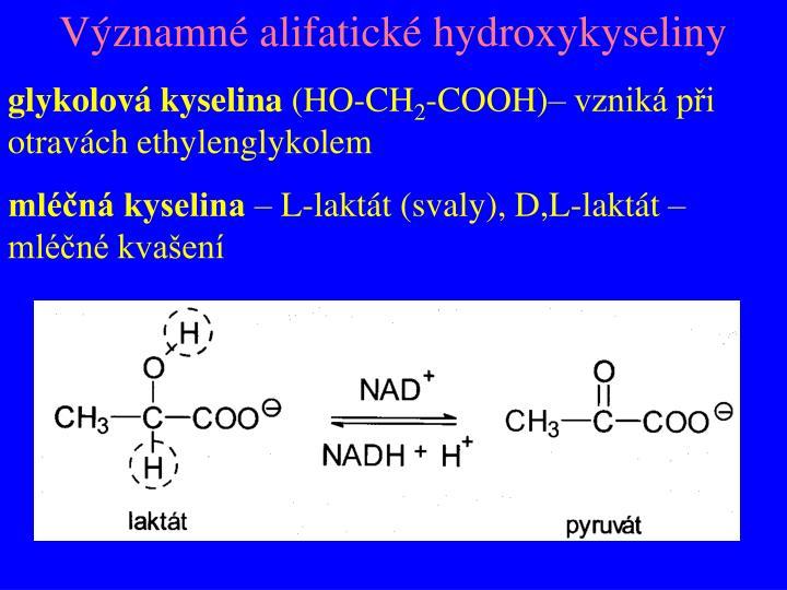 Významné alifatické hydroxykyseliny