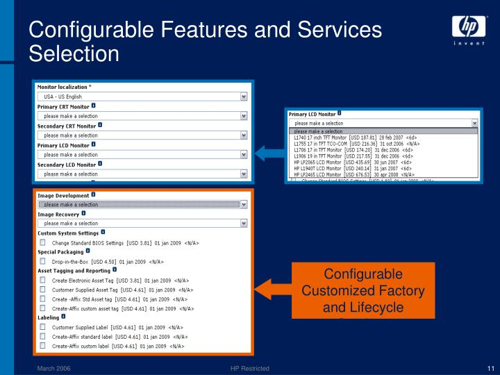 Configurable Features and Services Selection