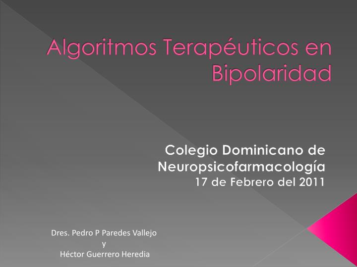 Algoritmos Terapéuticos en Bipolaridad