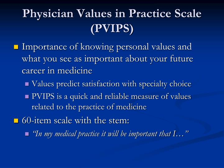 Physician Values in Practice Scale (PVIPS)