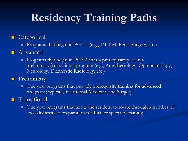 Residency Training Paths