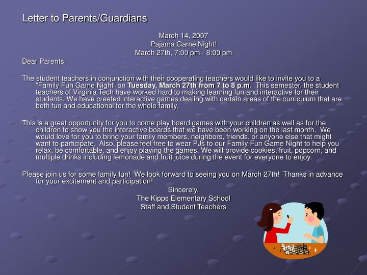 Letter to Parents/Guardians