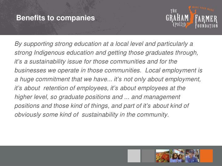 Benefits to companies