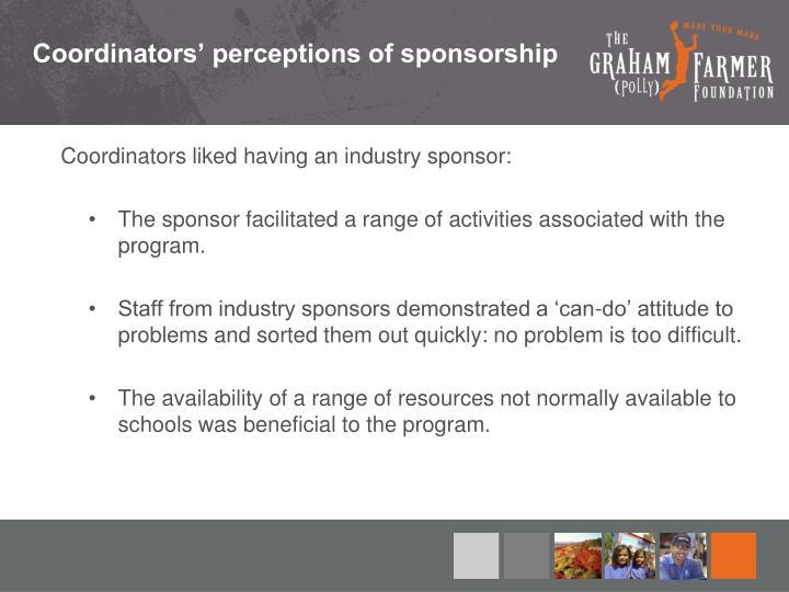 Coordinators' perceptions of sponsorship