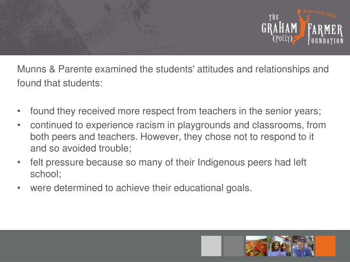 Munns & Parente examined the students' attitudes and relationships and