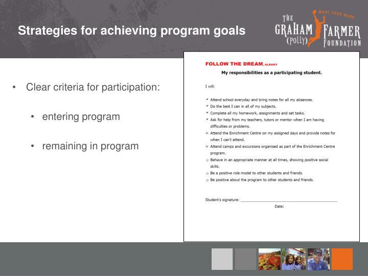 Strategies for achieving program goals