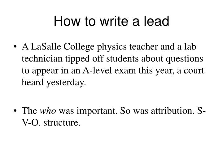 How to write a lead