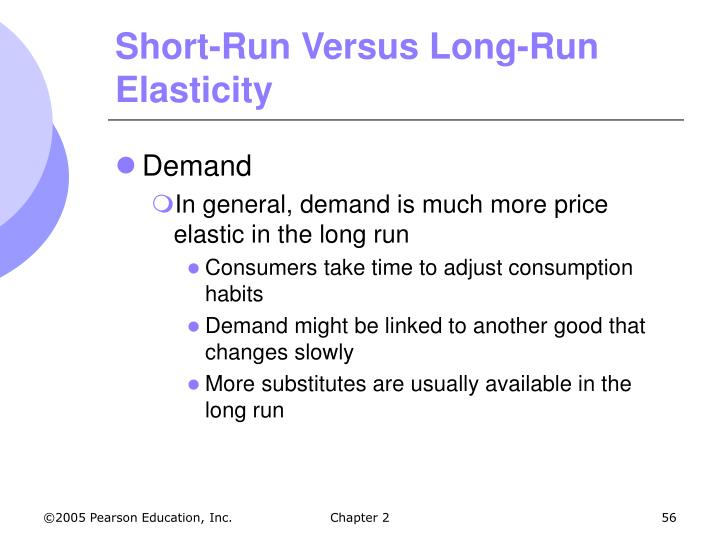 Short-Run Versus Long-Run Elasticity