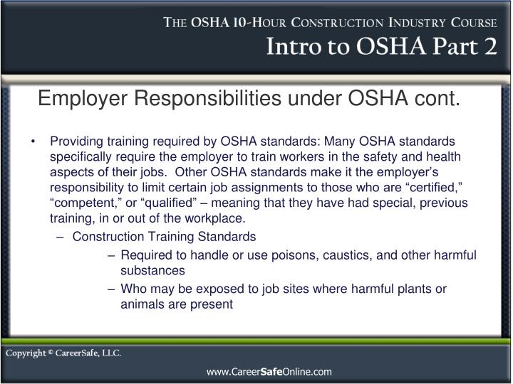 Employer responsibilities under osha cont