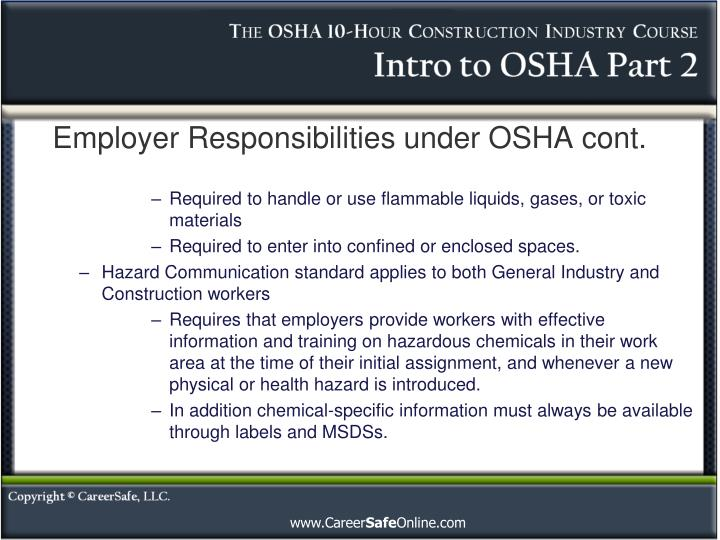 Employer Responsibilities under OSHA cont.