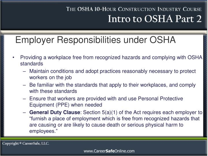 Employer responsibilities under osha