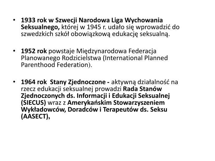 1933 rok w Szwecji Narodowa Liga Wychowania Seksualnego,