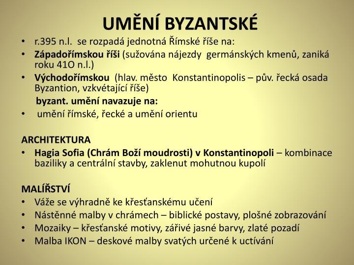 UMĚNÍ BYZANTSKÉ