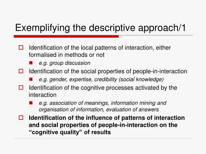 Exemplifying the descriptive approach/1