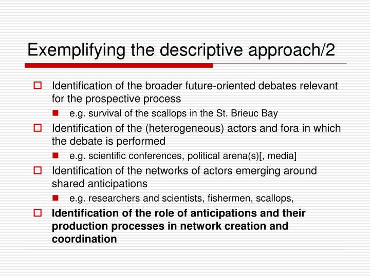 Exemplifying the descriptive approach/2