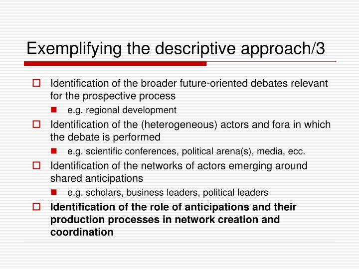 Exemplifying the descriptive approach/3