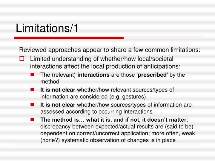 Limitations/1