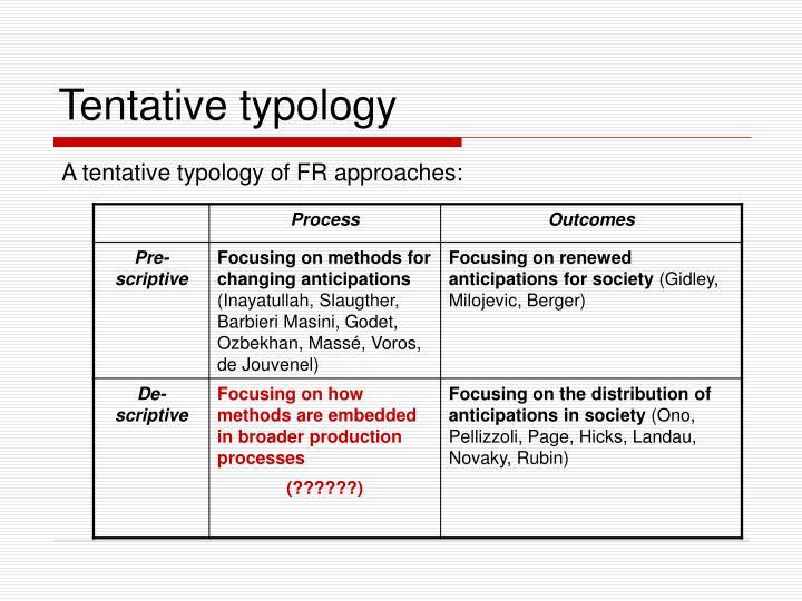 Tentative typology