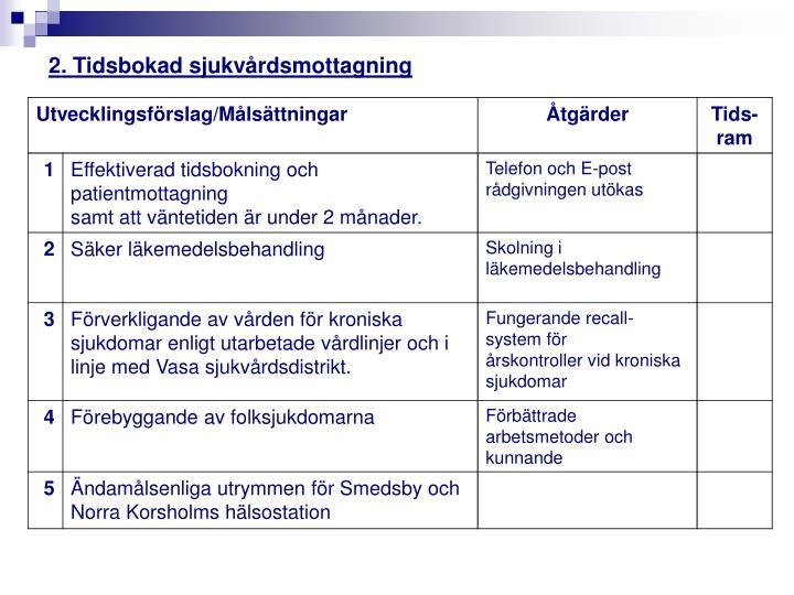 2. Tidsbokad sjukvårdsmottagning