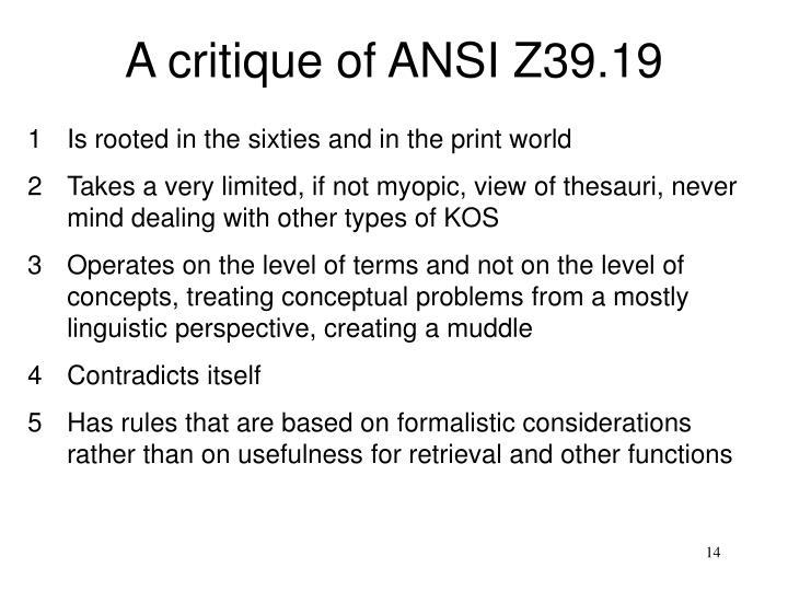 A critique of ANSI Z39.19