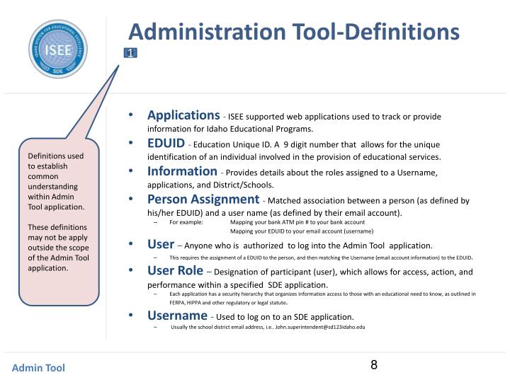 Administration Tool-Definitions