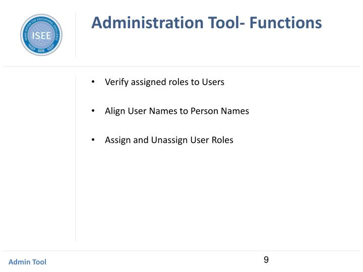 Administration Tool- Functions