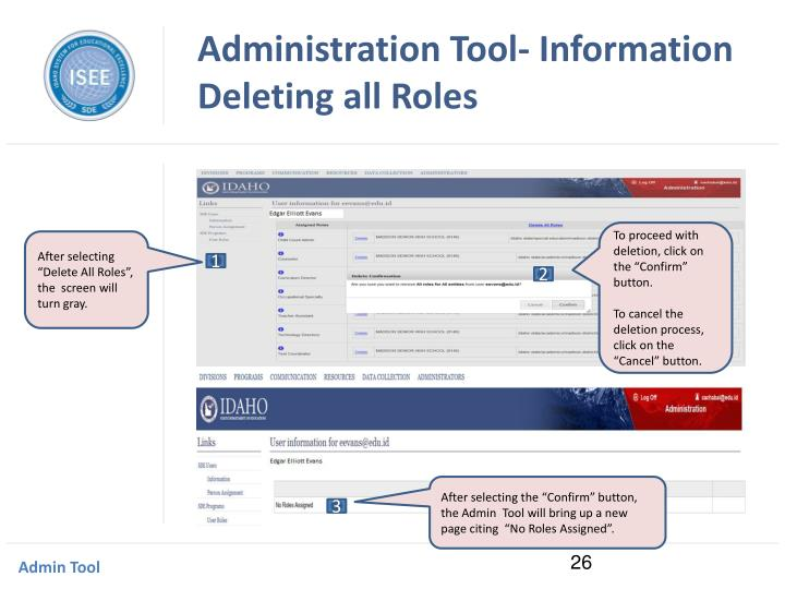 Administration Tool- Information Deleting all Roles