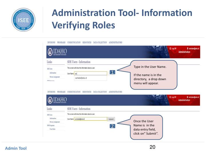 Administration Tool- Information Verifying Roles